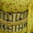 水玉の着物にネコ柄の帯☆