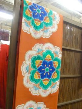 アンティークのオレンジ袋帯